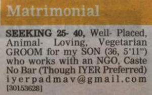 Classified AD for same sex marriage